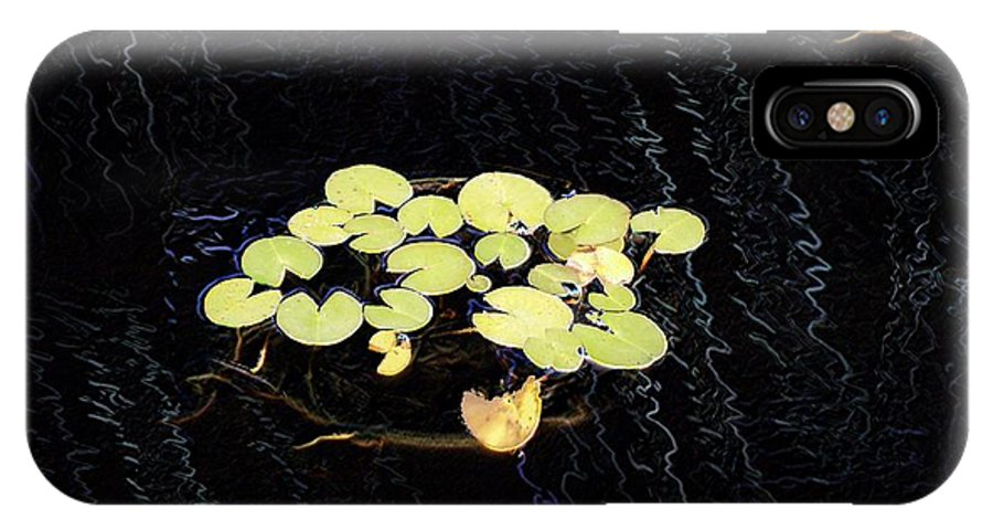 Lillies IPhone X Case featuring the digital art Reflecting Pool Lilies by Tim Allen
