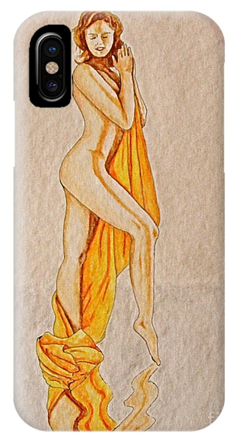 Nude IPhone X Case featuring the painting Reflection by Herschel Fall