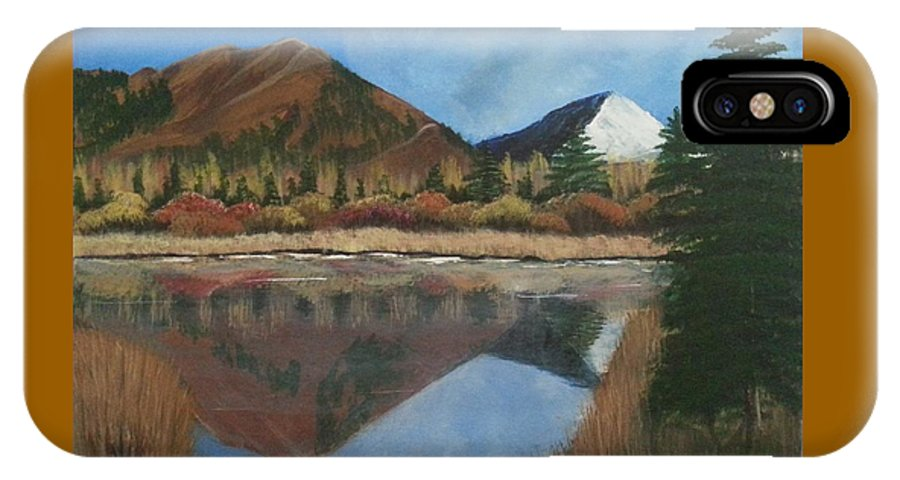 Mountains IPhone X Case featuring the painting Reflection by Martha Sanchez-Hayre