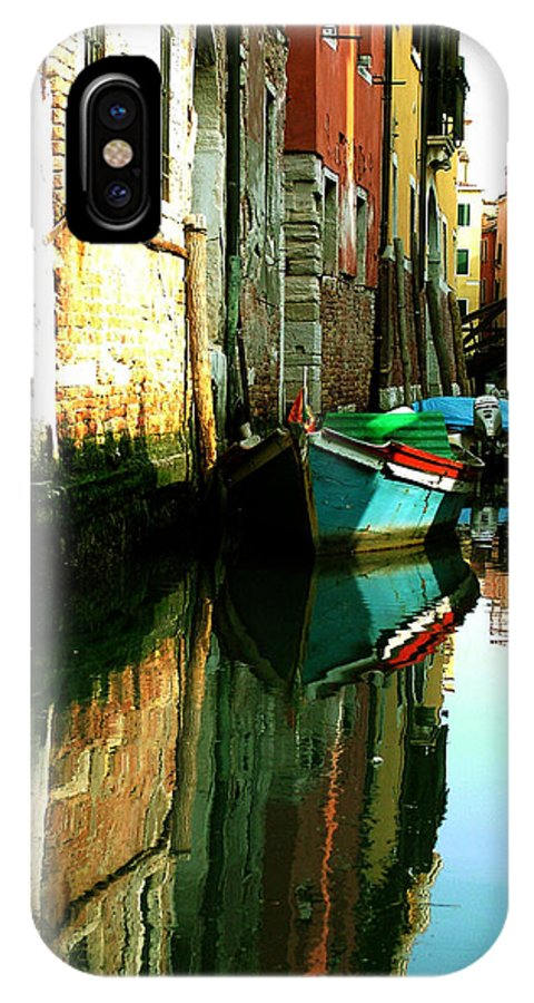 Venice IPhone Case featuring the photograph Reflection Of The Wooden Boat by Donna Corless