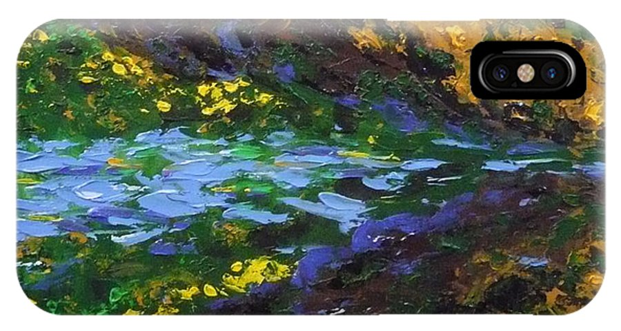 Landscape IPhone X Case featuring the painting Reflection One by Ericka Herazo