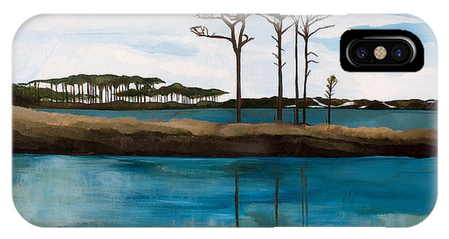 Beach IPhone Case featuring the painting Reflections At Western Lake by Racquel Morgan