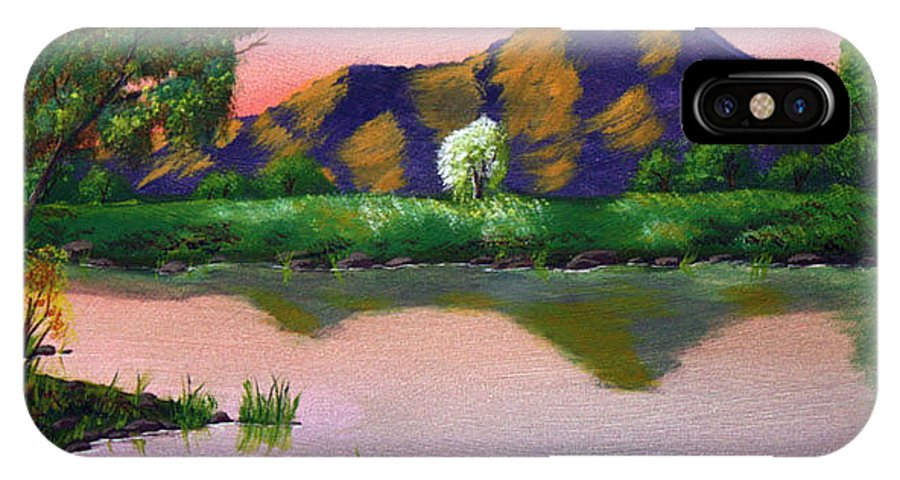 Landscape IPhone X Case featuring the painting Reflections In The Breeze by Dawn Blair