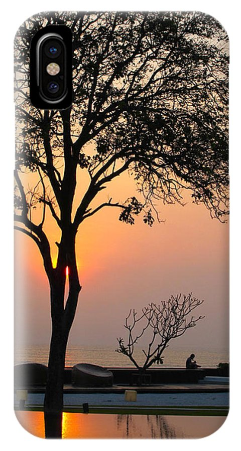 Sunset IPhone X Case featuring the photograph Reflections by Mary Katzke