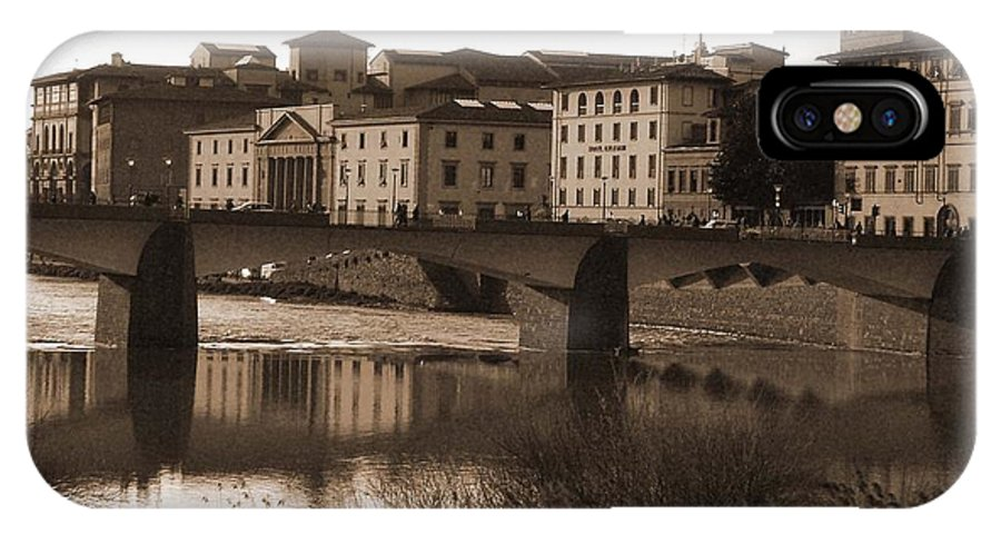 Sepia IPhone X Case featuring the photograph Reflections Of Florence by Donna Corless