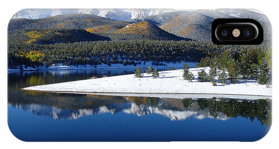 Landscape IPhone X Case featuring the photograph Reflections Of Pikes Peak In Crystal Reservoir by Carol Milisen