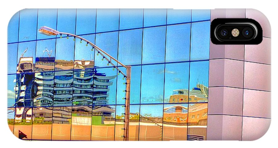#steel #relfection #urban #perspective #technology #light #windows #futuristic #city #building #glass #modern #business #contemporary #architecture IPhone X Case featuring the photograph Reflections by Stuart Clifford