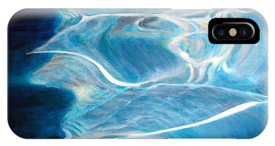 Abstract IPhone X Case featuring the painting Reflet by Muriel Dolemieux