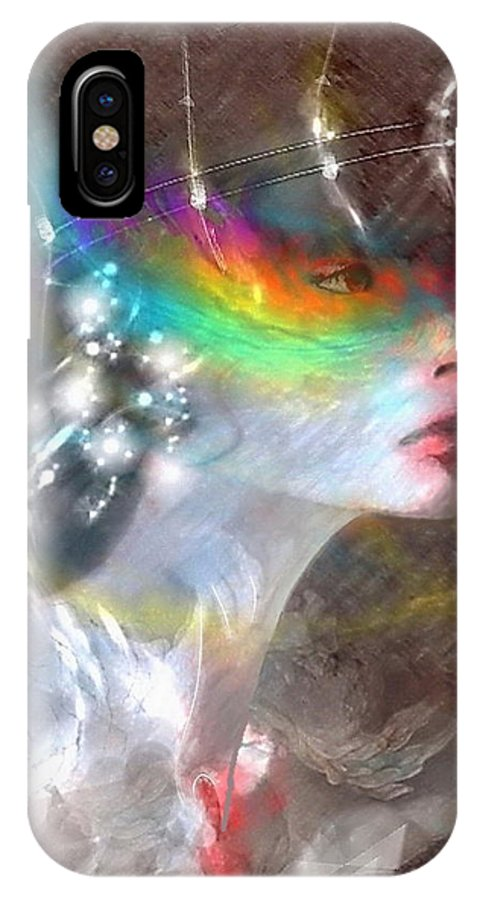 Portrait IPhone X Case featuring the mixed media Regard Jalouse by Freddy Kirsheh