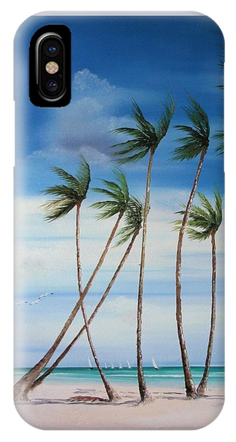 Beaches IPhone X Case featuring the painting Regatta by Maria Mills