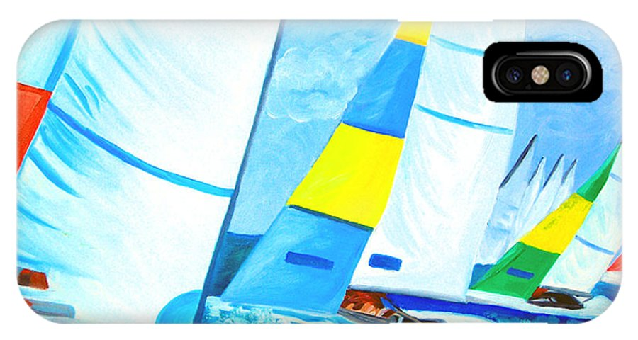 Sailing IPhone X Case featuring the painting Regatta by Michael Lee