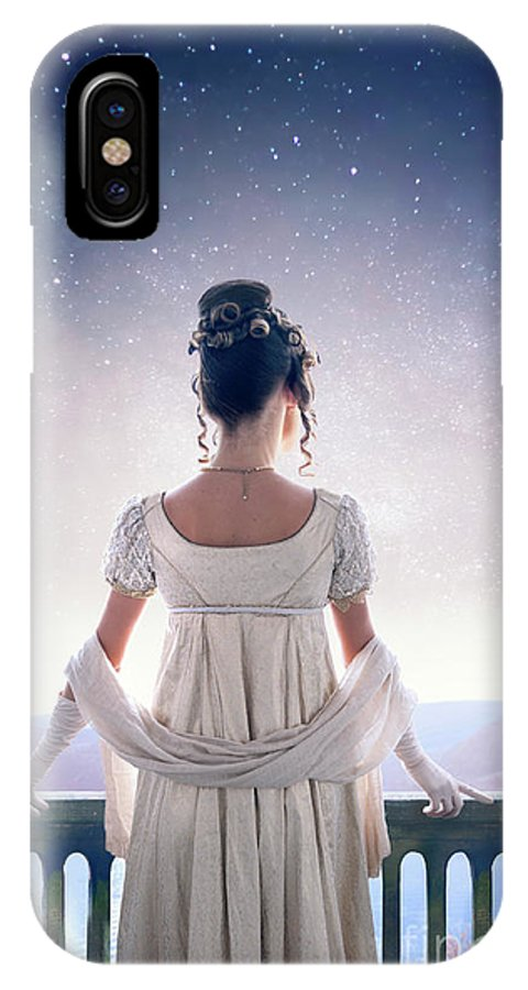 Regency IPhone X Case featuring the photograph Regency Woman Looking At The Stars In The Night Sky by Lee Avison