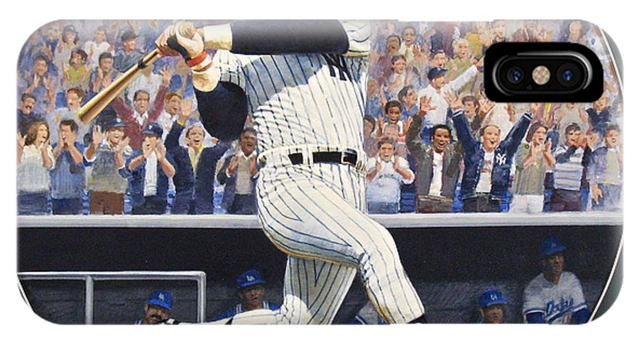 Acrylic Painting IPhone X / XS Case featuring the painting Reggie Jackson by Cliff Spohn