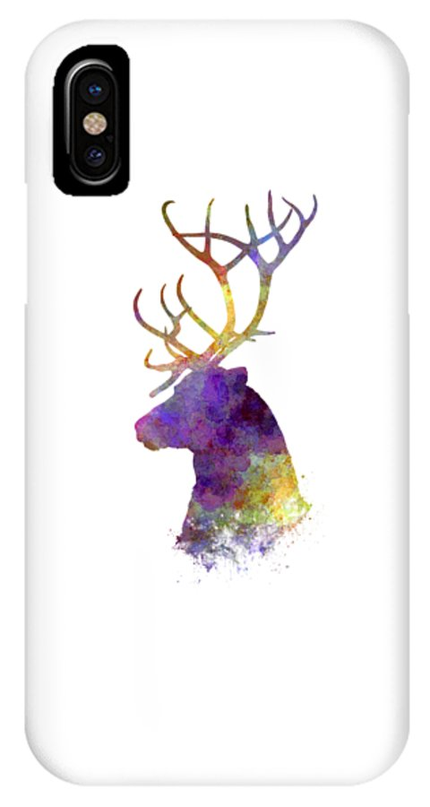 Reindeer IPhone X / XS Case featuring the painting Reindeer 01 In Watercolor by Pablo Romero