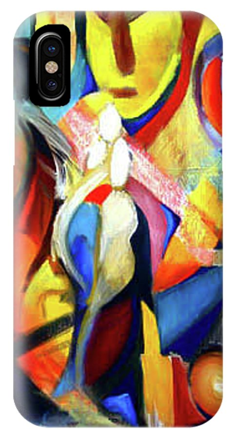 Abstract IPhone X Case featuring the painting Religious Interpretation by Robert Gravelin
