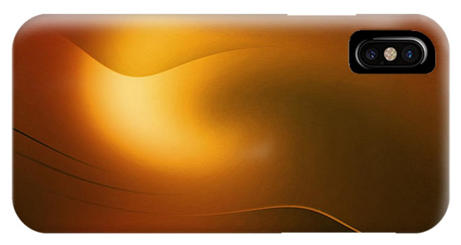 Abstract IPhone X Case featuring the digital art Relucent Gold by John Krakora