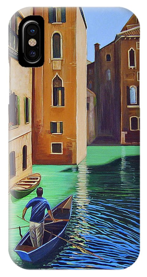 Canal In Venice IPhone X Case featuring the painting Remembering Venice by Hunter Jay