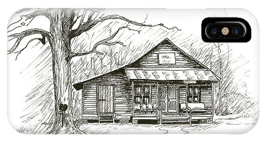 Pen Ink Old Time General Store Reno Sharpe Store Music Non-profit Organization North Carolina IPhone X Case featuring the drawing Reno Sharpe Store by Timothy Tron