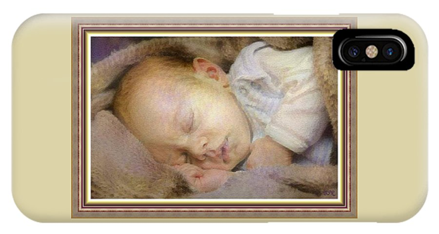 Renoir IPhone X Case featuring the digital art Renoircalia Catus 1 No. 2 - Adorable Baby L B With Decorative Ornate Printed Frame. by Gert J Rheeders