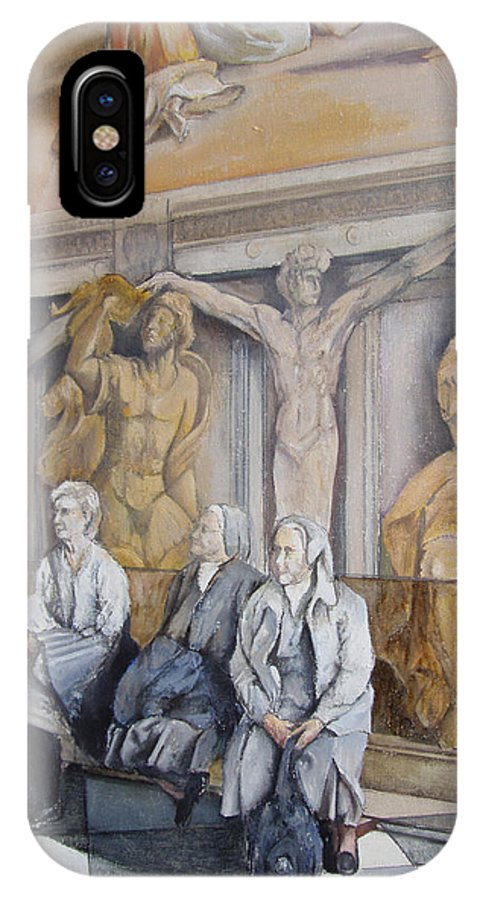 Vaticano IPhone X Case featuring the painting Reposo En El Vaticano by Tomas Castano
