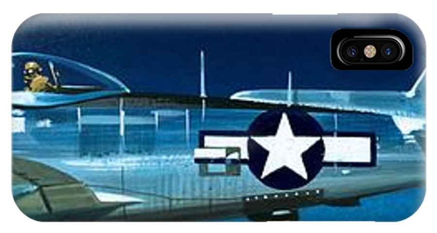 Aircraft; Aeroplane; Plane; Flying; Curtis P-40b; North American P-51b Mustang; Republic P-47n Thunderbolt; Lockheed P-38j Lightning IPhone X Case featuring the painting Republic P-47n Thunderbolt by Wilf Hardy