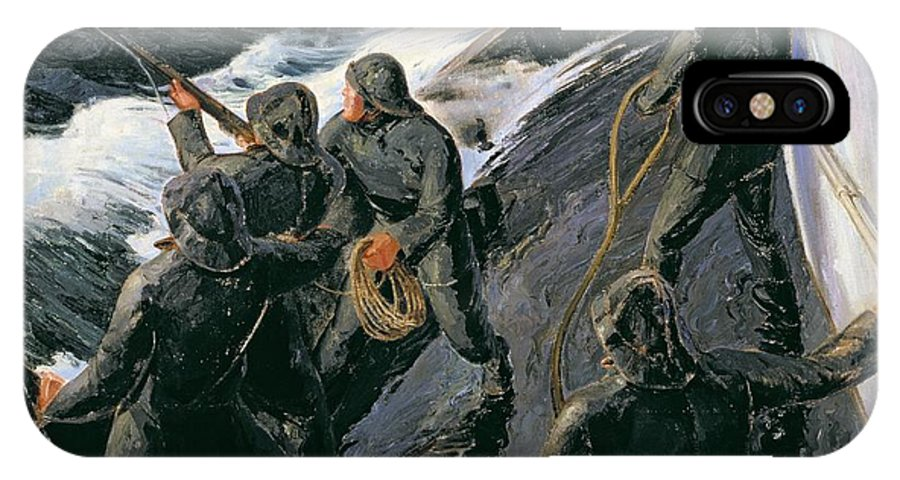 Rescue - Firing A Costen Gun Line (oil On Canvas) By Thomas Harold Beament (1898-1985) IPhone X Case featuring the painting Rescue by Thomas Harold Beament