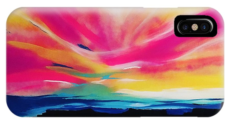 Landscape IPhone X / XS Case featuring the painting Reservation Sunset by Antoinette Thompson