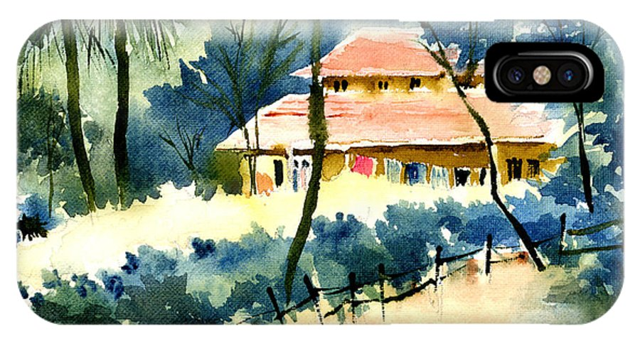 Landscape IPhone X Case featuring the painting Rest House by Anil Nene