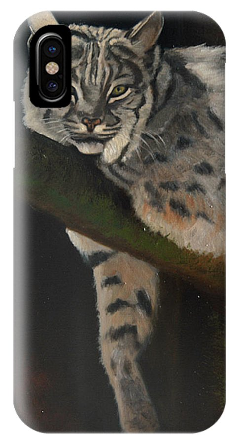 Bobcat IPhone X Case featuring the painting Resting Up High by Greg Neal