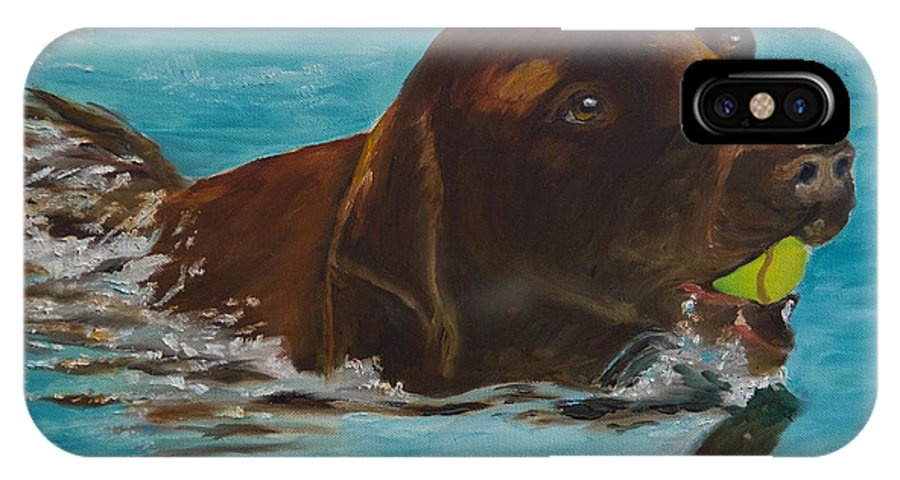Chocolate Lab IPhone X Case featuring the painting Retriever Play by Roger Wedegis