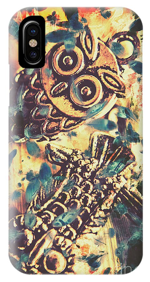 Owl IPhone X Case featuring the photograph Retro Pop Art Owls Under Floating Feathers by Jorgo Photography - Wall Art Gallery
