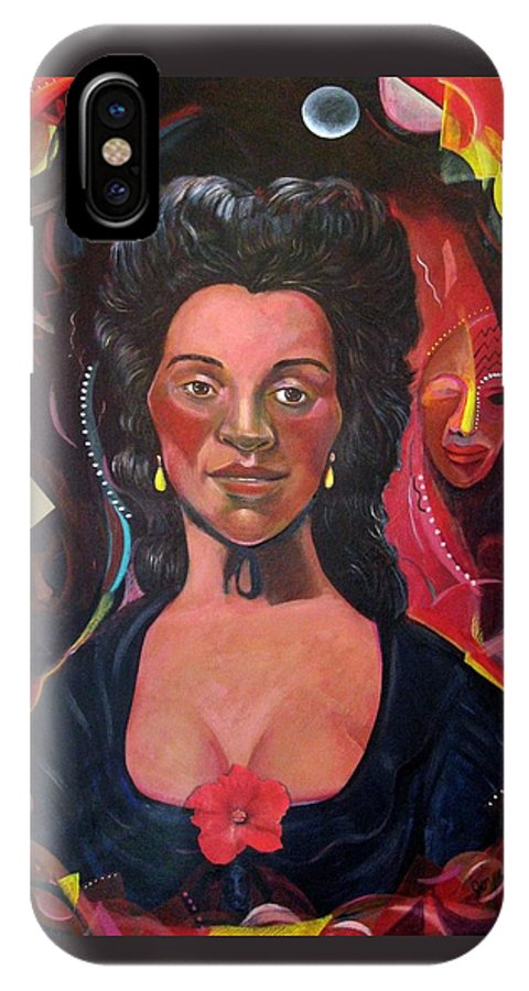 Portrait IPhone Case featuring the painting Retro Racing History After Gainsborough by Joyce Owens