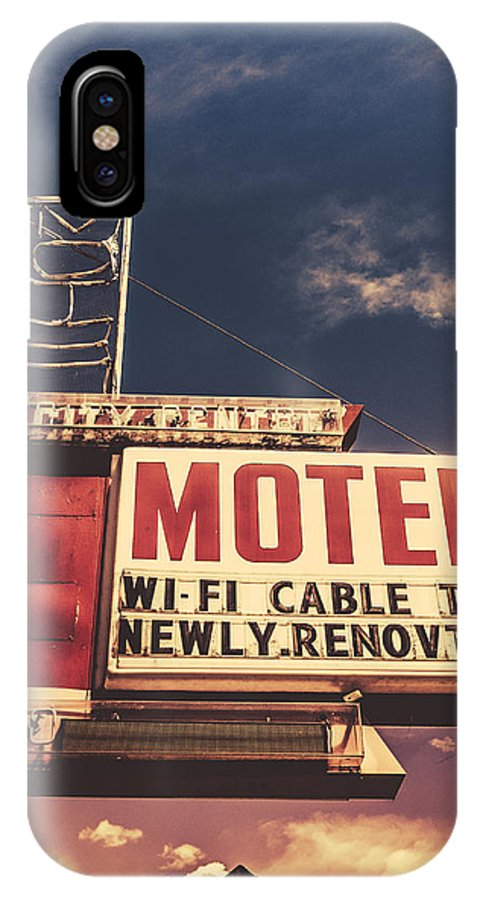 1950s IPhone X Case featuring the photograph Retro Vintage Motel Sign by Mr Doomits