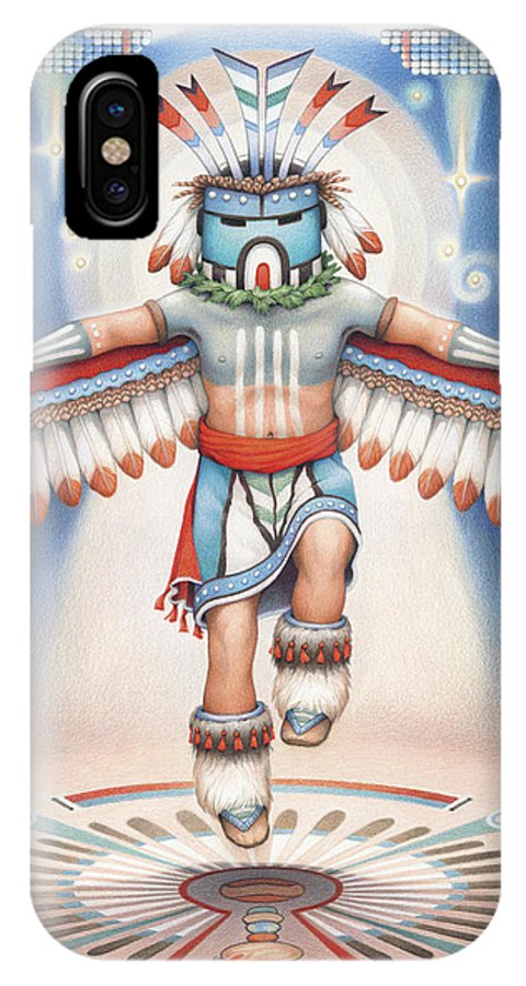 Blue Star Kachina IPhone X Case featuring the drawing Return Of The Blue Star Kachina by Amy S Turner