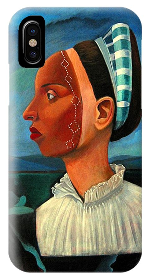 Woman IPhone X Case featuring the painting Revealed Truths And Myths IIi by Joyce Owens