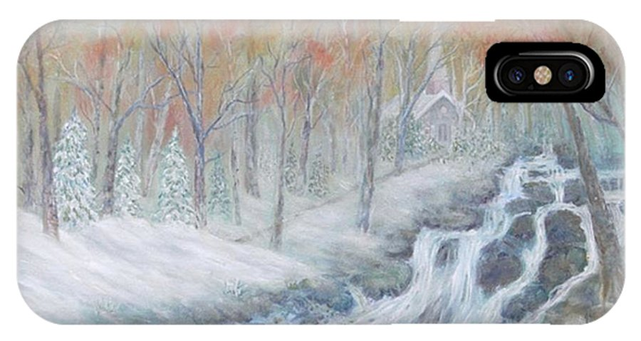 Snow; Landscape; Church IPhone X Case featuring the painting Reverence by Ben Kiger