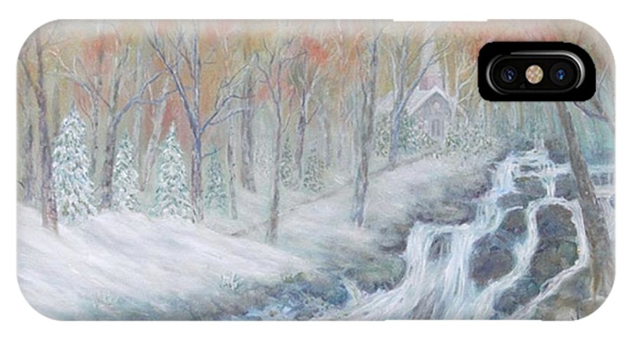 Snow; Landscape; Church IPhone X / XS Case featuring the painting Reverence by Ben Kiger