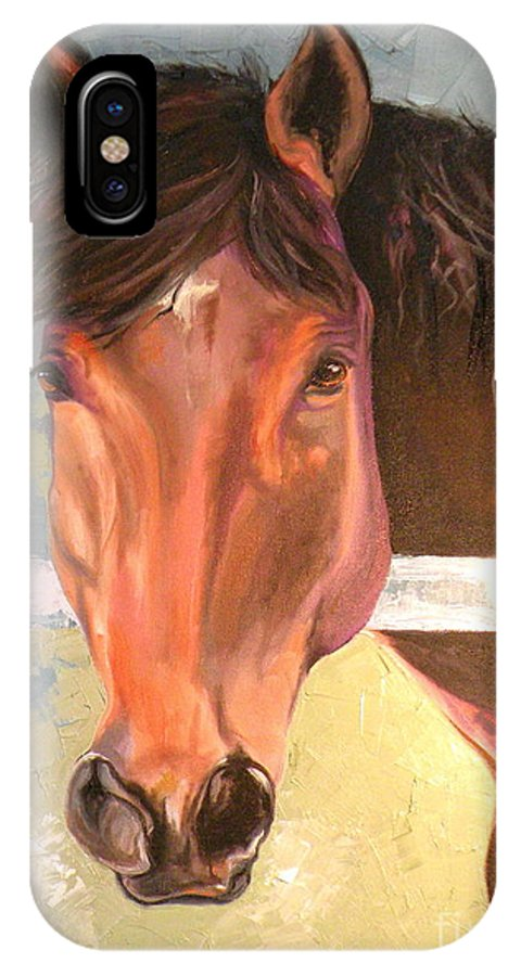 Horse IPhone X Case featuring the painting Reverie - Quarter Horse by Susan A Becker
