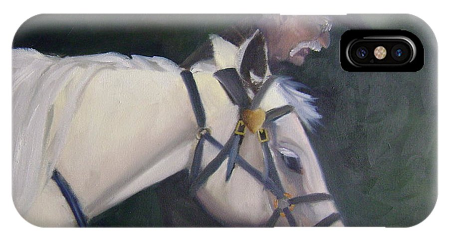 Old Man Horse... IPhone X Case featuring the painting revised- Man's Best Friend by Toni Berry