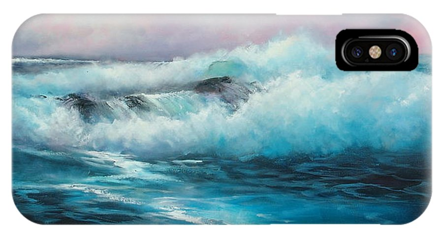 Seascape IPhone X Case featuring the painting Rhapsody In Blue by Sally Seago