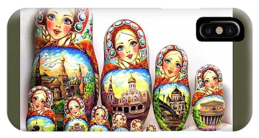 Nesting Doll 15pcs 13 In 35cm. Matryoshka IPhone X Case featuring the sculpture Rhinestones Of Moscow by Viktoriya Sirris
