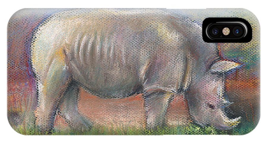 Rhino IPhone X Case featuring the pastel Rhino by Arline Wagner