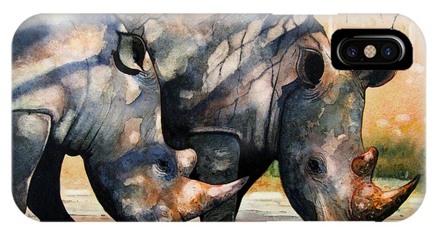 Rhino IPhone X Case featuring the painting Rhinos In Dappled Shade. by Paul Dene Marlor