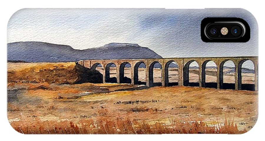 Landscape IPhone X Case featuring the painting Ribblehead Viaduct by Paul Dene Marlor