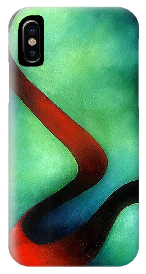 Red IPhone X Case featuring the painting Ribbon Of Time by Elizabeth Lisy Figueroa