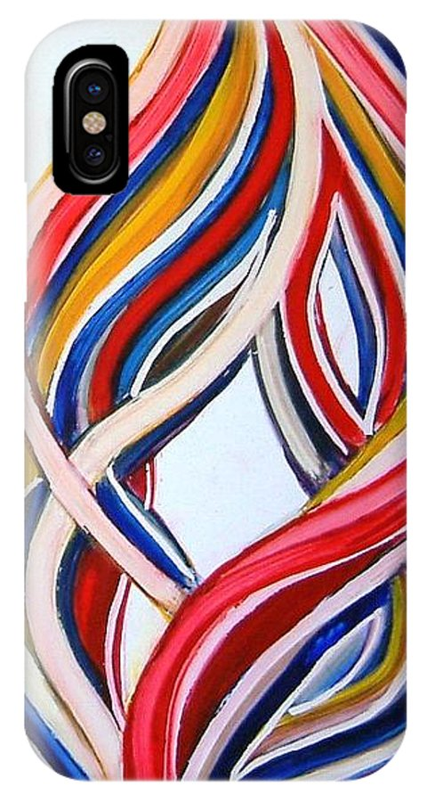 Abstract Modern Contemporary Pop Romantic Love Colourful Red Yellow Blue White IPhone X Case featuring the painting Ribbons Of Love-multicolour by Manjiri Kanvinde