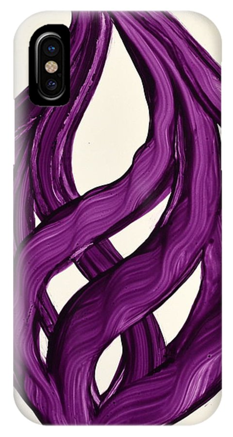 Abstract Art Yupo Comtemporary Modern Pop Romantic Vibrant IPhone X Case featuring the painting Ribbons Of Love-violet by Manjiri Kanvinde