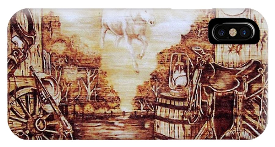 Western IPhone X Case featuring the pyrography Riders In The Sky by Danette Smith