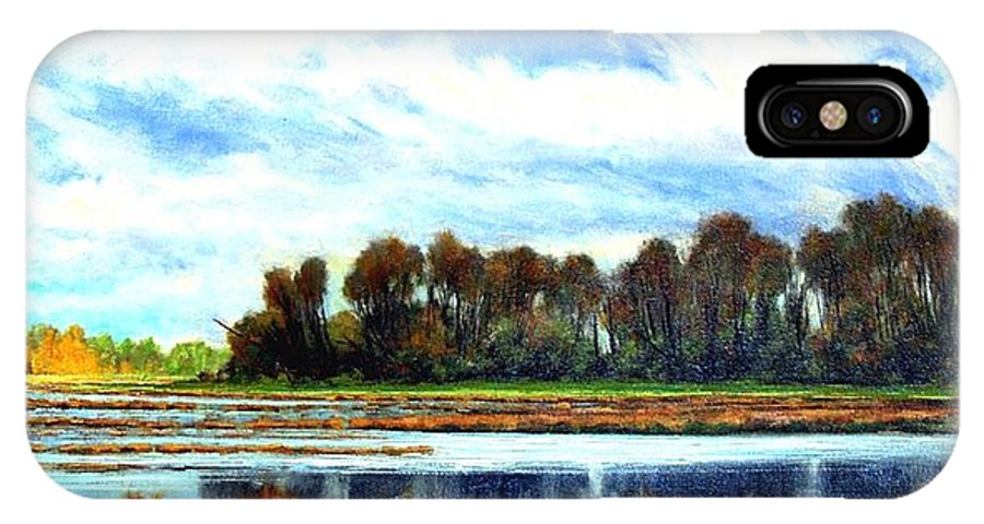 Landscapes IPhone X Case featuring the painting Ridgefield Refuge Early Fall by Jim Gola