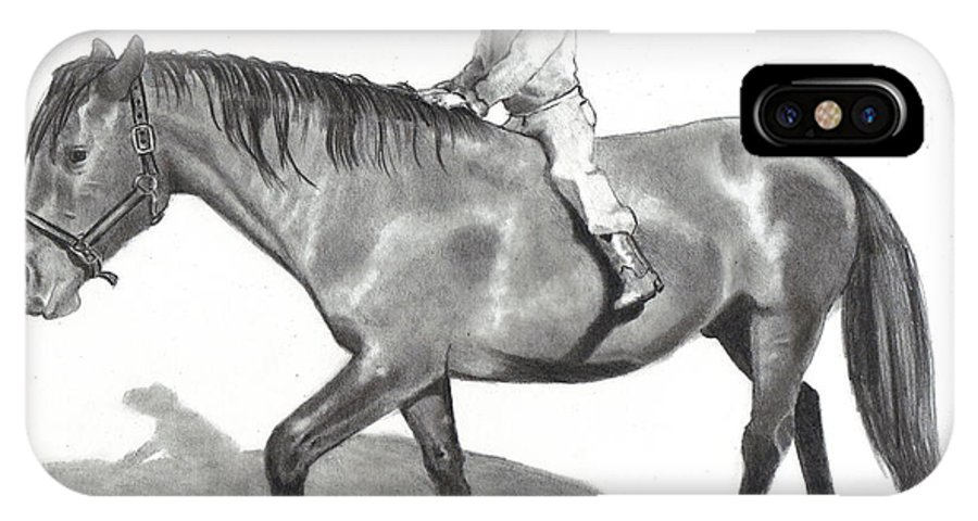 Equine Art IPhone X Case featuring the drawing Riding Bareback by Joyce Geleynse